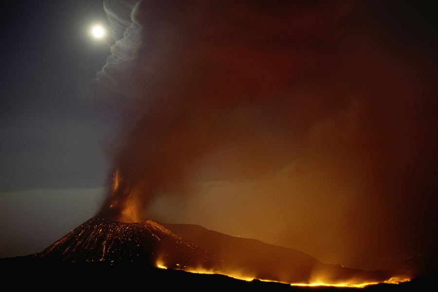 Moon over Mt. Etna, Sicily, Italy